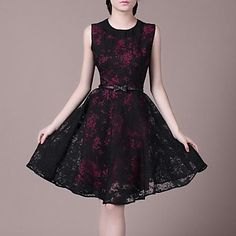 LIFVER Women's Black Collar Sleeveless Posed the Dress Waist -LWO-140036 – EUR € 31.35
