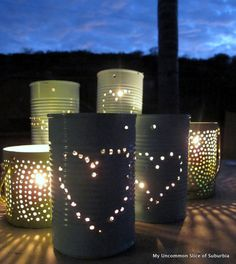 Recycled tin can lanterns by My Uncommon Slice of Suburbia
