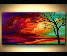 Colorful abstract tree painting, landscape painting, turquoise, red, purple tree art by Osnat-Made to order - - Abstract Tree Painting, Simple Acrylic Paintings, Autumn Painting, Abstract Canvas, Painting Canvas, Acrylic Artwork, Canvas Artwork, Landscape Arquitecture, Art Anime