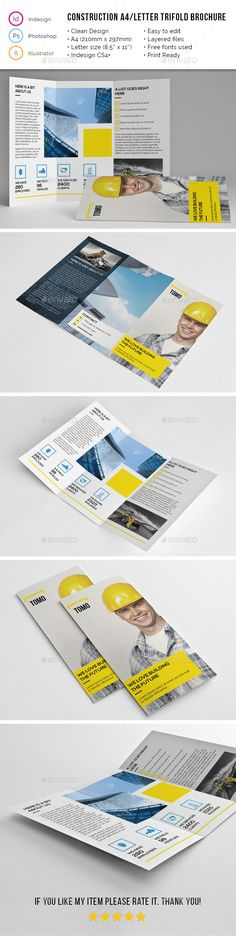 Construction Company A4 / Letter Trifold Template #design Download: http://graphicriver.net/item/construction-company-a4-letter-trifold-02/11789636?ref=ksioks