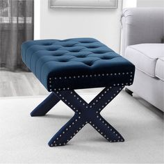 online shopping for Inspired Home Louis Velvet Button Tufted Silver Nail Head Trim X-Leg Ottoman, Navy from top store. See new offer for Inspired Home Louis Velvet Button Tufted Silver Nail Head Trim X-Leg Ottoman, Navy