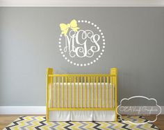 Bow Vine Monogram Vinyl Wall Decal by OZAVinylGraphics