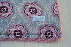 Baby Girl Minky Blanket  Grey Floral by Delphiadees on Etsy, $35.00
