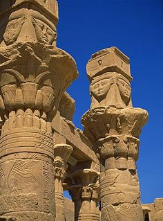 Detail of column capitals at the Temple of Hathor, Philae, UNESCO World Heritage Site, Aswan, Egypt