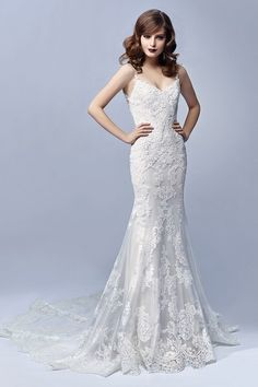 Lace wedding dress idea - tulle and lace mermaid gown with delicate spaghetti straps + V-neckline.Style Journey by @enzoani.