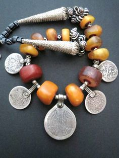Antique Moroccan Fossil Amber, Shell and Silver Pendants Necklace |