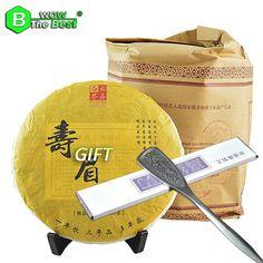 #yummy #sweet Stainless Steel Tea Knife + 2009 year 350g Aged Organic White Tea Cake Fuding Original Shou Mei Anti-cancer Te Product