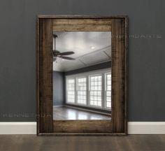 Reclaimed Wood Mirror Bathroom Mirror Rustic Medium Browns Weathered Wood Distressed Salvage 32 X 24