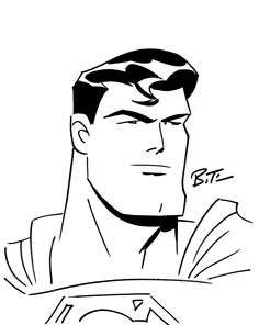 Superman by Bruce Timm, in Shannon Wendlick's Convention Sketches \ Commisions Comic Art Gallery Room Superman Drawing, Drawing Superheroes, Superman Art, Marvel Drawings, Comic Drawing, Drawing Sketches, Art Drawings, Bruce Timm, Arte Dc Comics