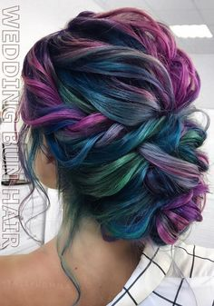 purple and blue braided updo - Frisuren Manner Beautiful Hair Color, Cool Hair Color, Short Hair Updo, Curly Hair Styles, Pelo Multicolor, Hair Dye Colors, Peacock Hair Color, Mermaid Hair, Pretty Hairstyles