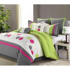 GREEN GREY KING 8 PIECES COMFORTER SET BED IN A BAG TEEN GIRL BEDROOM BEDDING