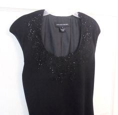JONES NEW YORK Cocktail Dress Black Sparkling beaded Bodice Swingy Skirt Size 8