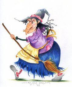 Entre Lápis e Pincéis: Maika García Montava Halloween Rocks, Scary Halloween, Fall Halloween, Halloween Crafts, Vintage Halloween Images, Halloween Pictures, Witch Decor, Witch Art, The Good Witch