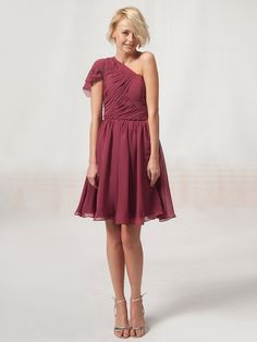 One Shouldered A Line Bridesmaid Dress