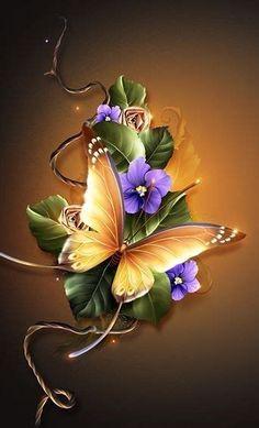 Blue Roses Wallpaper, Bling Wallpaper, Flower Background Wallpaper, Butterfly Wallpaper, Wallpaper Keren, Butterfly Art, Flower Backgrounds, Wallpaper Backgrounds, Flower Art