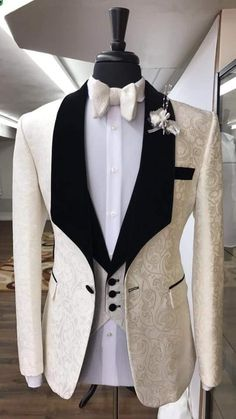 Steady High Quality Mens Suits Groom Tuxedos Groomsmen Wedding Party Dinner Best Man Suits jacket+pants+bow Tie W:14