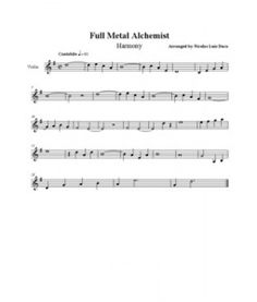 Full Metal Alchemist -Harmony VIOLIN SHEET MUSIC