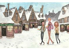 Hogsmeade in gouache by SE Hetrick (commissioned piece) Harry Potter Places, Harry Potter Sign, Harry Potter Universal, Gouache Painting, Painting Prints, Watercolor Paintings, Hogwarts Mystery, Harry Potter Collection, Art Pieces