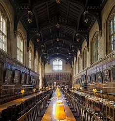 The Hall, Christ Church College, Oxford, England... www.castlesandmanorhouses.com ... The Hall is a vestige of the main room in castles and other great medieval buildings (such as Westminster Hall). All traditional Oxford and Cambridge Colleges have them - the colleges have retained the tradition of everyone eating together, as have the Inns of Court and many public (ie private) schools. Such halls are often now called Great Halls or Dining Halls.
