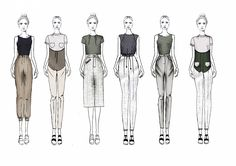 Fashion Sketchbook - fashion illustrations; line up; fashion portfolio // Charlotte Deville More