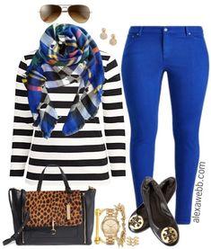 Plus Size Striped Tee Outfit - Plus Size Outfit Idea - Plus Size Fashion for Women - alexawebb.com #plussize #plussizeoutfit #alexawebb