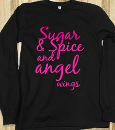 Scotty McCreery's the trouble with girls Tee. Front says Sugar & Spice and angel wings and back says the trouble with girls.