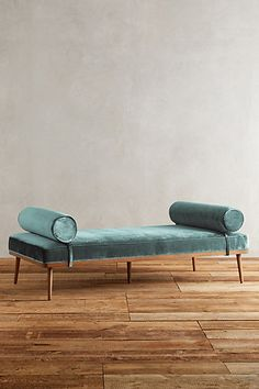 Slub Velvet Darcy Daybed #anthropologie. Beautiful muted colour reminds me of the colour of the sea in Margate. Lovely clean lines too... Definitely need a chaise or bench in the living room.