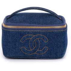 Chanel Vintage Denim Cosmetic Case found on Polyvore featuring beauty products, beauty accessories, bags & cases, chanel, blue, toiletry bag, makeup bag case, toiletry kits, purse makeup bag and makeup purse