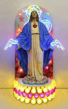 Christ with neon guns. Sacred and profane neon sculpture - Carefully selected by GORGONIA www.gorgonia.it - creap Jesus