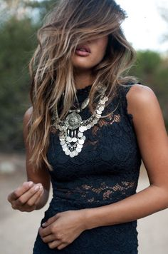 So very cute blue lace and stunning necklace