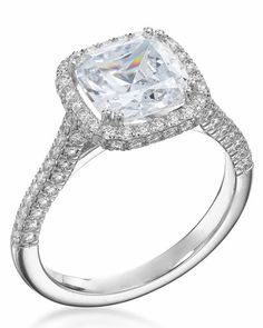 Micropave cushion-cut diamond ring with platinum setting, price upon request,michaelcfina.com.