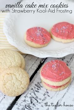 Vanilla Cake Mix Cookies with Kool-Aid Frosting