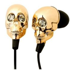 gold skull earbuds