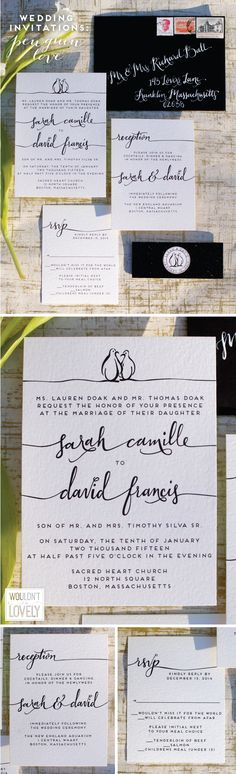 black and white custom designed wedding invitation suite with penguins