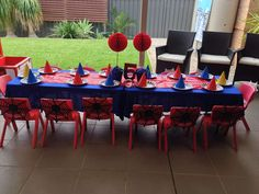 Superhero Birthday Party Ideas | Spidey chair backs deco