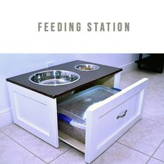 Keep your dog feeding area organized. This station allows you to keep all your pet's essentials in one place. Raised Dog Beds, Raised Dog Feeder, Elevated Dog Feeder, Elevated Dog Bowls, Cat Feeding Station, Dog Station, Dog Feeding, Dog Food Stands, Dog Bowl Stand