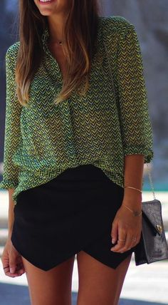 Asymmetrical skirts + printed blouses.