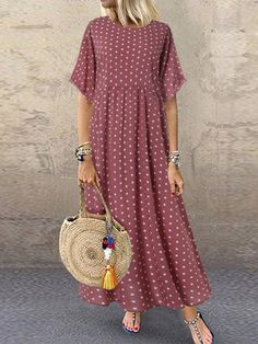 I found this amazing Polka Dot Print Short Sleeve Plus Size Maxi Dress with Pockets with 14 days return or refund guarantee protect to us. Maxi Dress With Sleeves, Short Sleeve Dresses, Long Sleeve, Maxi Robes, Plus Size Maxi Dresses, Casual Maxi Dresses, Dresses Dresses, Trendy Dresses, Fall Dresses