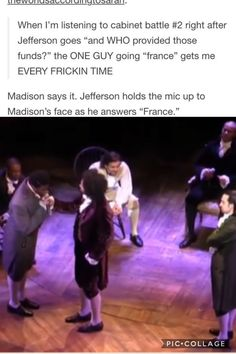 I usually look at the picture before I read the things and I though that Madison was kissing Jeffersons hand and I was just like wtf???