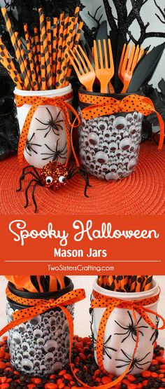 Spooky Halloween Mason Jars - a fun diy Halloween craft project to do with the kids. Cover Mason Jars with creeping, crawling spiders and jiggly Monster Eyes and you have a Halloween container that will look great on your Halloween Party food table! Pin this cute Halloween Party Idea for later and follow us for more fun Halloween Decoration Ideas.