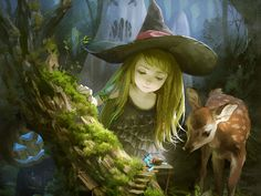 Little Witch, illustration by Yuukikuchi Fantasy Magic, Fantasy World, Photo D Art, Fantasy Kunst, Witch Art, Fairy Art, Magical Creatures, Fantasy Artwork, Halloween Art