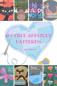 Here's a huge collection of 40+ free applique patterns for all your sewing projects as well as a tutorial to make your own appliques.