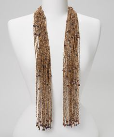 Take a look at this Brown Beaded Scarf Necklace by Fantasy World Jewelry on #zulily today! $15 !!