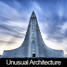 The Church of Hallgrimur in Reykjavik, Iceland. - Lutheran church is 244 ft m) tall. Its design is said to resemble the lava flows, that have shaped Iceland's landscape. The impressive building was finished in Unusual Buildings, Amazing Buildings, Interesting Buildings, Temples, Architecture Cool, Cathedral Church, Church Building, House Building, Chapelle