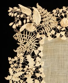 Irish Crochet, cotton.  Ireland, c1850.  The varieties of plant forms and flowers represented, their naturalism and the three-dimensionality set this extraordinary example of Irish crochet lace apart from the more static designs of later examples.