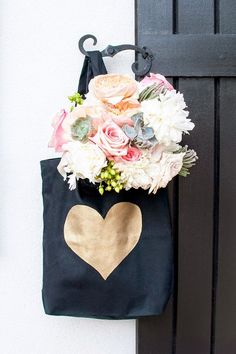 Paint on some love for an easy DIY bridesmaid tote.