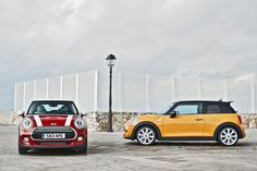 the new MINI cooper.. the exterior of the new MINI has been developed to reflect some of the signature design elements from the original cooper mark 1, such as a hexagonal radiator grille and adaptive LED headlamps. inside, the cockpit has been completely re-configured, relocating the traditional speedometer from the center console to the steering columns, paired with an all new heads-up navigation display with interactive driver assistance, and infotainment systems on the center instrument.