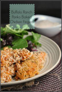 Buffalo Ranch Panko Baked Chicken Fingers