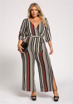 Plus Size Stripe Surplice Waist Tie Jumpsuit Outfits Plus Size, Plus Size Summer Outfit, Curvy Outfits, Plus Size Dresses, Summer Outfits, Fashion Outfits, Plus Size Tips, Plus Size Looks, Plus Size Fashion For Women