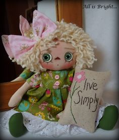 Heather  Raggedy Doll with Pillow by Allisbright on Etsy, $34.00